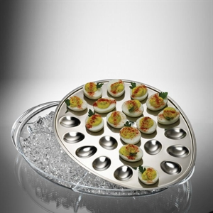 eggs stay fresh and pretty on stainless steel ice tray