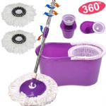 360 Magic Spin Mop with Bucket 2 Microfiber Heads Rotating head Purple
